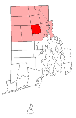 Location of Johnston in Providence County, Rhode Island