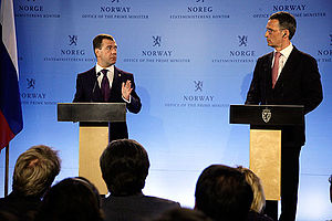 2010 in Norway - Norwegian PM Jens Stoltenberg and the Russian President Dmitry Medvedev announce that Norway and Russia have settled the long conflict over their maritime border in the Barents Sea.