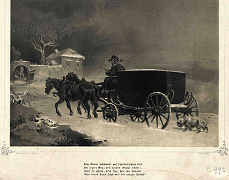 Death of Wolfgang Amadeus Mozart - A portrayal by Joseph Heicke of the journey of Mozart's coffin through a storm to the cemetery. Engraving from about 1860, a few years after the Deiner story appeared.