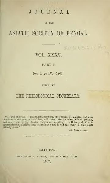 File:Journal of the Asiatic Society of Bengal Vol 35, Part 1.djvu