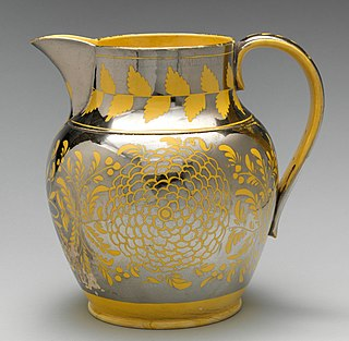 Lustreware Pottery with a reflective or iridescent surface