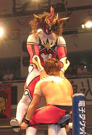 Jushin Thunder Liger - Liger preparing to perform a frankensteiner on Minoru