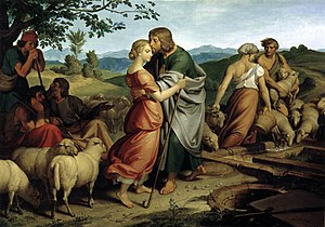 Nazarene movement - In Jacob encountering Rachel with her father's herd, Joseph von Führich attempts to recapture the mood of Perugino and Raphael, 1836 (Österreichische Galerie Belvedere, Vienna).