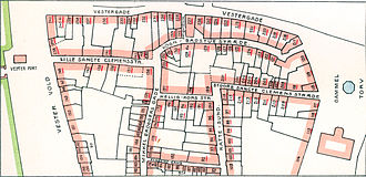 Copenhagen Fire of 1728 - Map of Vester Kvarter where the fire started with the lot numbers from the cadastre of 1699. The numbers of the burned lots are underlined in red.