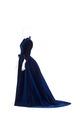 KLÄNNING. Två liv och kjol. Av kornblå silkessammet. Tillhört Wilhelmina von Hallwyl - Hallwylska museet - 89318.tif