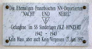Hinzert concentration camp - Hinzert commemorative plaque of the Night and Fog victims.