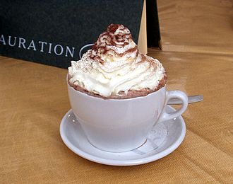 Whipped cream - A cup of hot chocolate topped with whipped cream from a pressurized can