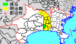 Kōza District, Kanagawa - Map of Kōza District with Meiji period area in yellow, modern area in green  1 - Samukawa