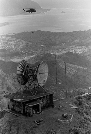 Omega (navigation system) - The Communications Control Link building of the Naval Radio Station at Haiku, part of the Kaneohe Omega Transmitter, 1987