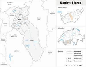 Sierre District - Image: Karte Bezirk Sierre 2009
