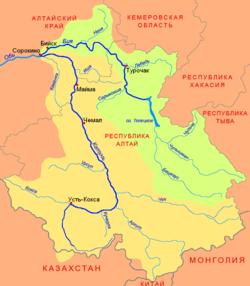 Карта-схема реки Катунь Горно-Алтайск, Россия.