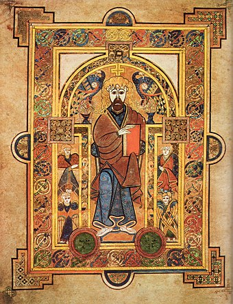 A page from the Book of Kells, an illuminated manuscript created in the British Isles in the late 8th or early 9th century KellsFol032vChristEnthroned.jpg