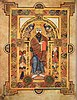 Illustration from the Book of Kells depicting Christ sitting on a throne
