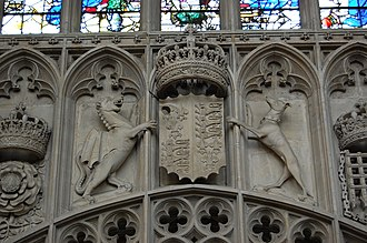 King's College, Cambridge - Coat of arms of King Henry VII, interior stonework of the chapel's west end