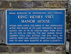 Photo of Hans Sloane and Henry VIII blue plaque