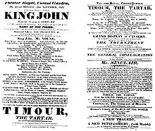 A playbill for the 1823 production of King John in which Planché introduced historically accurate costumes (Source: Wikimedia)