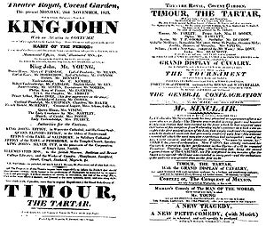 James Planché - A playbill for the 1823 production of King John in which Planché introduced historically accurate costumes