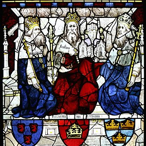 John Thornton (glass painter) - Image: King Lucius and two other Kings, East Window, York Minster