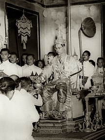 Thailand-Constitutional monarchy, World War II, and Cold War-King Rama IX being presented with regalia at coronation