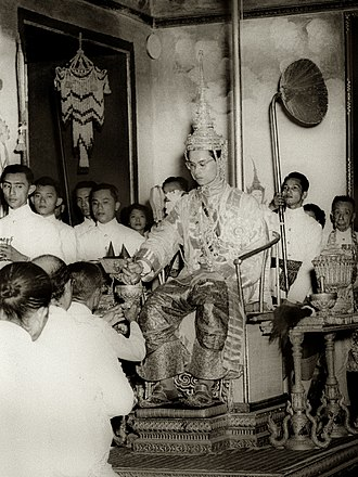 Bhumibol Adulyadej - Bhumibol at his coronation at the Grand Palace.