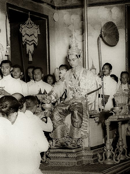 File:King Rama IX being presented with regalia at coronation.jpg