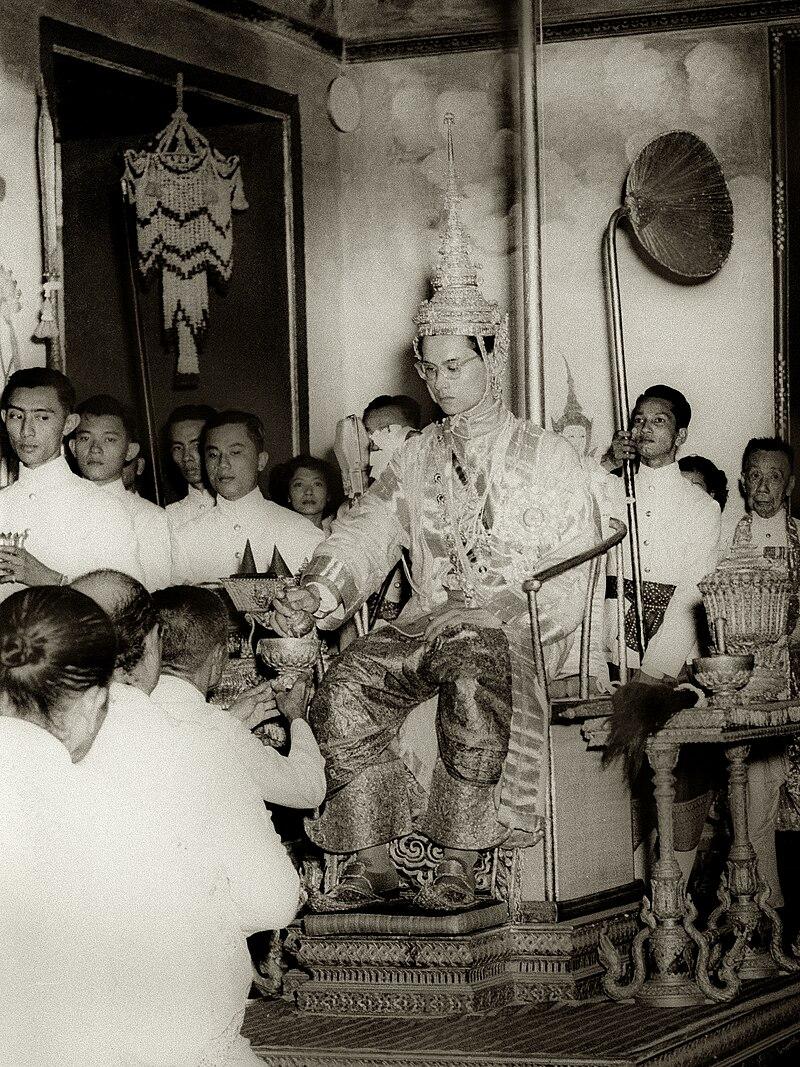 King Rama IX being presented with regalia at coronation.jpg