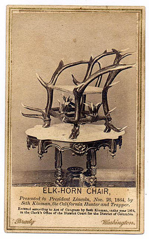 Seth Kinman - Elkhorn chair presented to President Abraham Lincoln. Photo by Mathew Brady