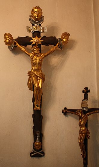 Crucifix - Unlike many other Protestants, Lutherans retained the use of the crucifix, Martin Luther church in Oberwiesenthal, Germany