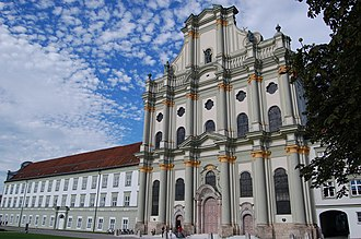 Fürstenfeld Abbey - Another angle of the west front, showing more of the abbey