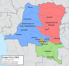 Controllo territoriale in Congo (1960-61)  Governo nazionale (Léopoldville) Governo rivale (Stanleyville) Stato del Sud Kasai (Autonomo) Katanga (de facto indipendente)