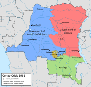 State of Katanga - 1961 territorial control in Congo. Katanga shown in green.