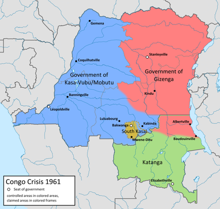 Map of the factions in the Congo in 1961 Kongo 1961 map en.png