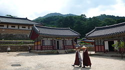 In front of tree wooden buildings, two Buddhist monks in gray robe with a dark red shawl are passing by.