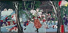 "Kondo Isami, leader of the pro-Shogunate Shinsengumi, facing soldiers from Tosa (distinctive ""Red bear"" (赤熊, Shaguma) wigs of the officers) at the Battle of Kōshū-Katsunuma"