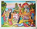 Krishna and Balarama are seated in a chariot driven by Akrura.jpg