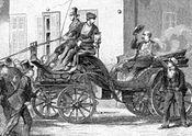 Eduard Kullmann (right) shoots Chancellor Otto von Bismarck