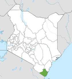 Location of Kwale County (Green)