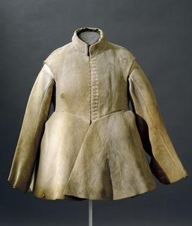 Buff coat thick leather coat, often sleeveless, worn alone or under armor
