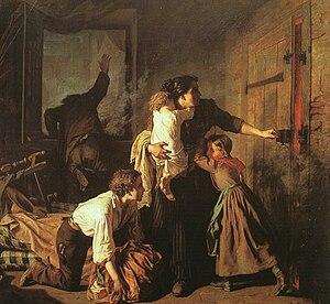 Alexandre Antigna - L'Incendie, 1850-51, oil on canvas, Musée des Beaux-Arts at Orléans.