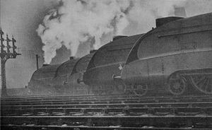 LNER Class W1 - The rebuilt 10000 (right), in company with four A4