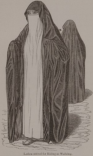 "Niqāb in Egypt - This is a portrait of an upper-class woman in ""An Account of the Manners and Customs of the Modern Egyptians"" written by British orientalist Edward William Lane in 1833"