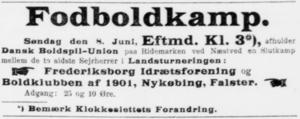 Provinsmesterskabsturneringen - Newspaper advertisement for the final match on 8 June 1913 between Frederiksborg IF Hillerød and B 1901.