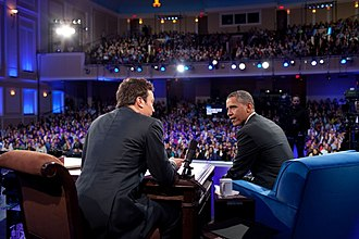 Jimmy Fallon - Fallon interviewing President Barack Obama on the campus of UNC at Chapel Hill in April 2012, while at the helm of his tenure at ''Late Night''