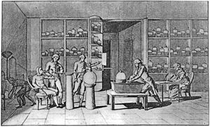 Lavoisier conducting an experiment on respiration in the 1770s.