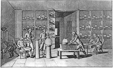 By containing his assistant, Armand Seguin, inside a rubber suit fitted with a tube sealed to his mouth with putty, Antoine Lavoisier first measured basal metabolic rate. Drawing by Madame Lavoisier (seated at right). Lavoisier humanexp.jpg