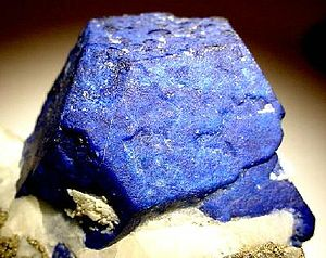Sar-i Sang - Another Sar-e Sang Lazurite crystal, with the classic deep azure-blue color. Crystal is 4.5 cm wide.