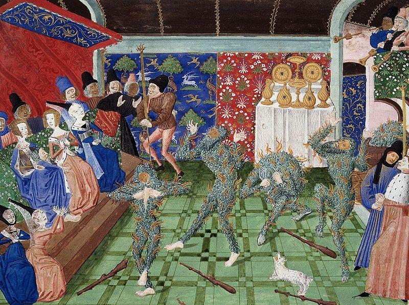 Miniature en couleurs représentant une salle richement décorée, avec une assistance d'apparence noble et au milieu quatre personnages enflammés qui se tordent de douleur.