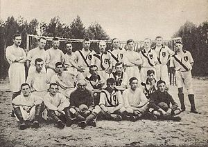 Legia Warsaw - Legia and the Division of Sanitary team after a 7–0 win by legia. Spring 1916