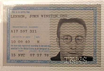 Lennon's Green Card, which allowed him to live and work in the United States Lennon's Green Card.jpg