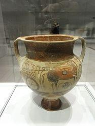 Français: Vase (cratère) décoré de guerriers et de chars